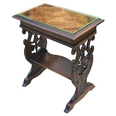 Antique French End Table Nightstand Book Trough Bookcase Book Rest Mahogany
