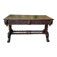 Antique English Desk Table with Drawers Carved Oak Leather Top Barley Twist 19 C