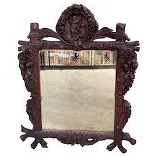 Antique French Black Forest Mirror Framed Highly Carved Oak Angels Cherubs Roses