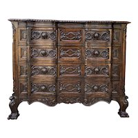 Antique French Chest of Drawers Commode Renaissance Cabinet Oak Sideboard Server