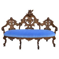 Antique French Settee Chaise Sofa Bench Blue Highly Carved Cherubs Walnut 1920s