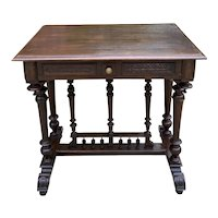 Antique French Table Side Table Hall Entry End Table Nightstand w Drawer Oak