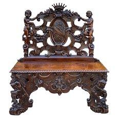 Antique French Bench Chair Settee Renaissance Revival Griffon Cherubs Walnut 19C