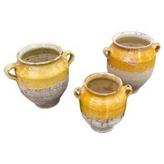Antique French Country Confit Pots Jugs Jars Pottery SET OF 3