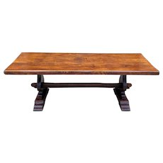 """Antique French Farm Table Farmhouse Oak Dining Conference Library Table Desk 87"""""""