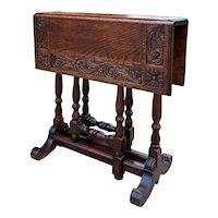 Antique English Drop Leaf Table Carved Top PETITE Trestle Legs Oak c. 1900