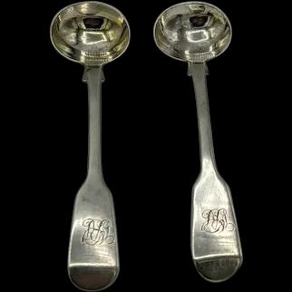 Pair of Regency Antique Silver Fiddle Pattern Salt Spoons William Eaton London 1825