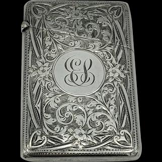 Beautiful Art Nouveau Silver Card Case Robert Chandler Birmingham 1920