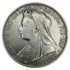 Queen Victoria Silver Crown LXIV - Five Shilling Coin - 1900 in aVF Condition