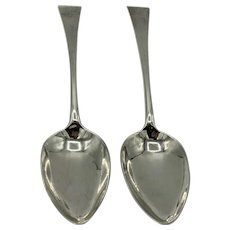 Pr Georgian York Provincial Silver Table Spoons Hampston, Prince & Cattle 1804