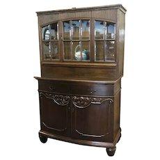 "Vintage German 2 Piece Step-Back Cupboard w/14 Individual 9.75"" X 4.75"" Original Bevel Panels"