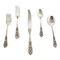 Rose Point Sterling Flatware by Wallace Silver Company 12 (Five Piece Place Settings)