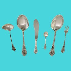 Rose Point Sterling Silver Flatware Serving Pieces by Wallace Silver Company