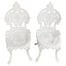 CA  1900's Very Ornate Victorian Cast Garden Chairs by Atlanta Stove Works