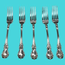"""Old Master Sterling Silver 7 1/8"""" Dinner / Luncheon Forks by Towle (2 lots of 5 Each)"""