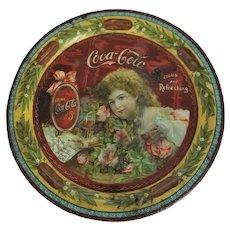 """Very Rare Original Coca Cola 1901 (5 ½"""") Hilda Clark Tip Tray With Roses"""