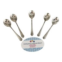 """5 (five) Vintage Sterling Silver Individual 4 1/4"""" Salt Spoons with Old English Marks and Old Style """"B"""" Monogram"""