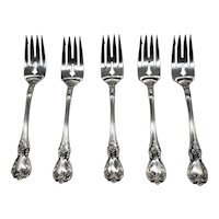 """Sterling Silver 6 3/8"""" Salad Forks Old Master by Towle 1 lot of 5 Each"""