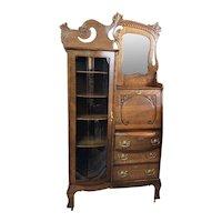 Antique 1920's Victorian Style Oak Side-by-Side Secretary Bookcase