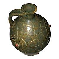"""Black Widow"" Signed Marvin Bailey Southern Primitive Folk Art Green, Grey & Red Pottery Glaze Jug"