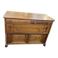 Antique Quarter Sawn Tiger Oak Sideboard
