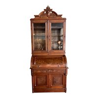 Antique Walnut Cylinder Secretary Bookcase