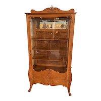Antique American Golden Oak 1-Door Curio/Display Cabinet
