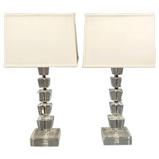 A Pair of Vintage Mid Century Modern Heavy Stacked Lucite Table Lamps