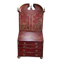 Harden Furniture Chinese Red Lacquer Drop Down Secretary/Bookcase Chino Series