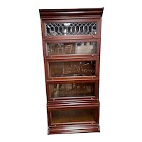 Five Stack American Barrister Mahogany Bookcase with Leaded Glass Top Stack