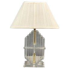 Vintage Mid-Century Modern Heavy Stacked Lucite Table Lamp