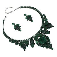 Evanora Emerald Color Rhinestone and Cabochon Necklace/Earring Set