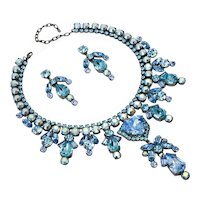 Fairy Blue Aquamarine Color Rhinestone Necklace/Earring Set