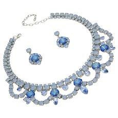 Periwinkle Vine Blue Opal Color Rhinestone Necklace/Earring Set