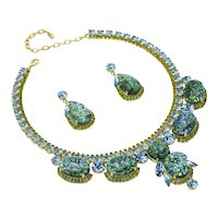 Splender in the Grass Art Glass and Olivine Color Rhinestone Necklace/Earring Set