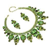 Spring Awakening Peridot and Olivine color Rhinestone Necklace/Earring Set