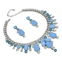 Heavenly Sky Turquoise Color Cabochon and Rhinestone Necklace/Earring Set