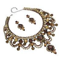 Woodland Park Smoke Topaz & Light Colorado Color Rhinestone Necklace/Earring Set