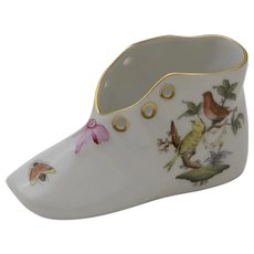 Herend Rothschild Hand Painted Porcelain Baby Shoe 7870