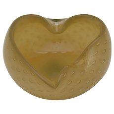 Vintage Mid-Century Murano Style Heart Shaped Bullicante Ashtray