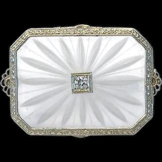 Art Deco 14k White Gold Rock Quartz/Camphor Glass and Diamond Brooch