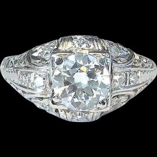 Art Deco 0.84CT Natural Diamond Ring