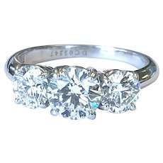 Tiffany & Co Platinum 2.15 CTW Diamond Three Stone Ring GIA