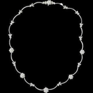 Vintage 2.50ct Diamond Flower Motif Necklace