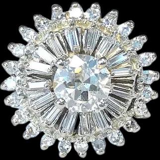 Vintage Sunburst Diamond & 14K White Gold Ring