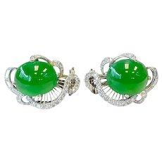 GIA Jadeite Jade & Diamond Earrings