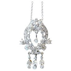 Vintage 14K White Gold Diamond Pendant Necklace