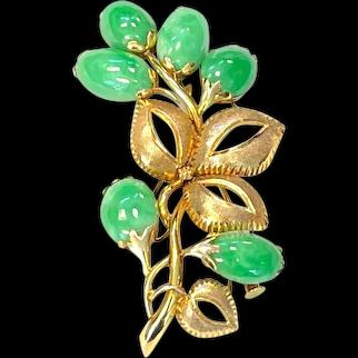 Vintage Jadeite Jade Floral Brooch Pin