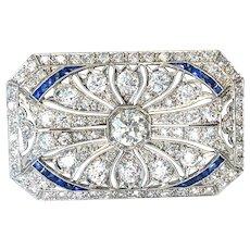 Art Deco Platinum Diamond and Blue Sapphire Brooch Pin