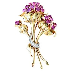 Vintage Ruby & Diamond Flower Bouquet Brooch Pin